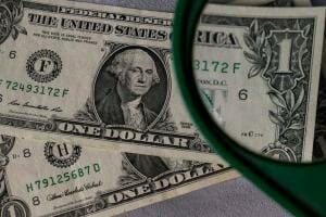us dollar with microscope